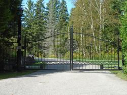 Black Steel gate with camera, and controls with light