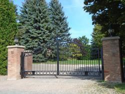 Elegant steel fence in black.