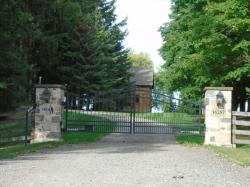 Spiked black gate with custom stone pillars